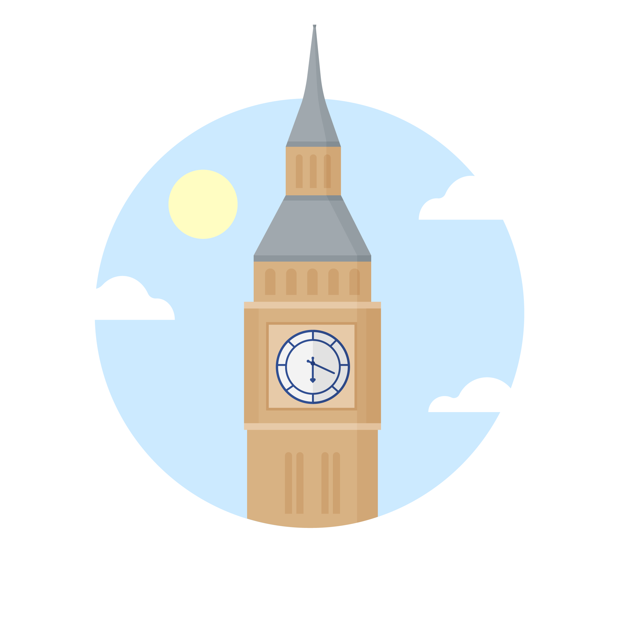Flat illustration of the Big Ben (Elizabeth Tower), London in a blue circle with clouds & sun
