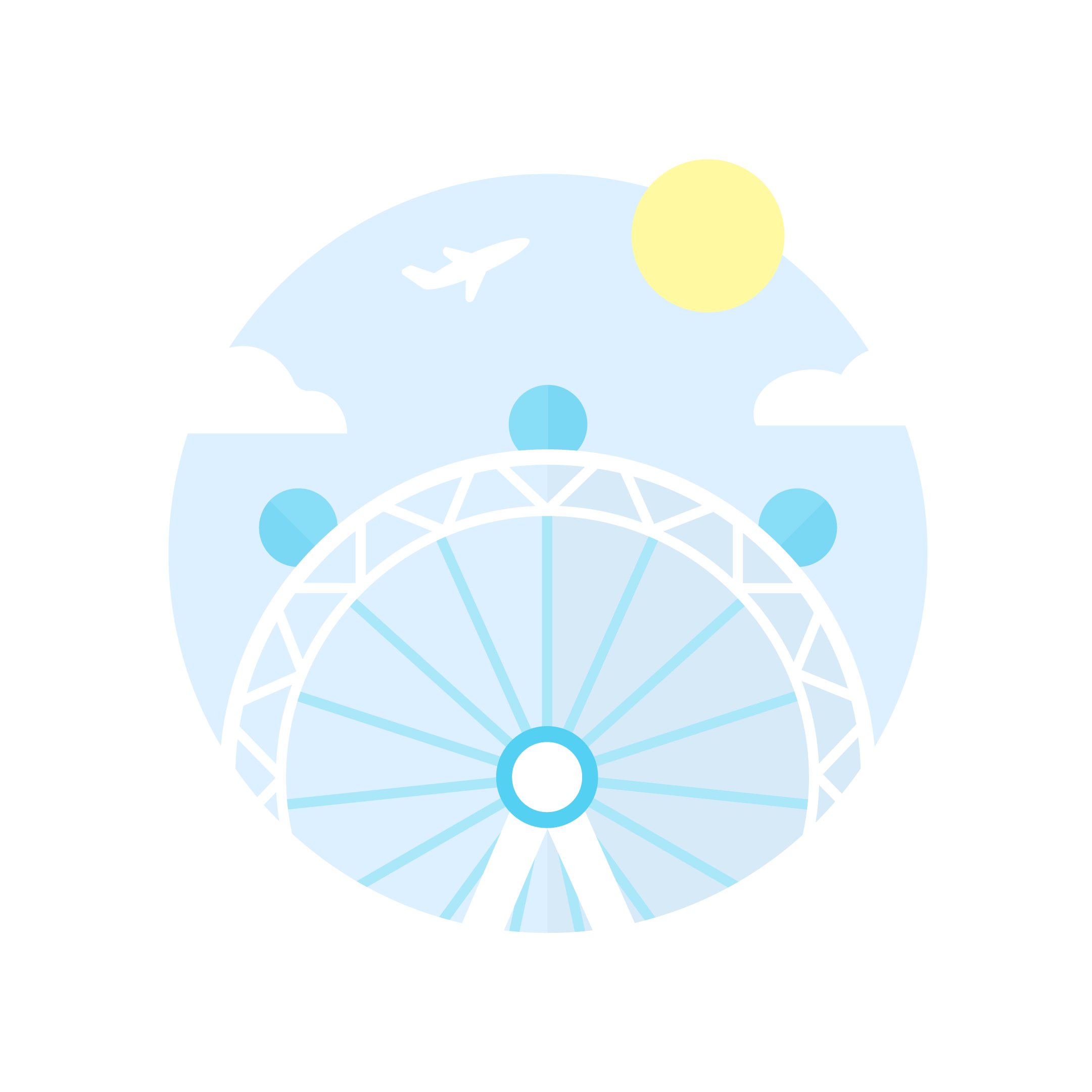 Vector illustration of the London Eye (Millennium Wheel) in the UK in a blue circle with clouds, sun & plane in flat design style