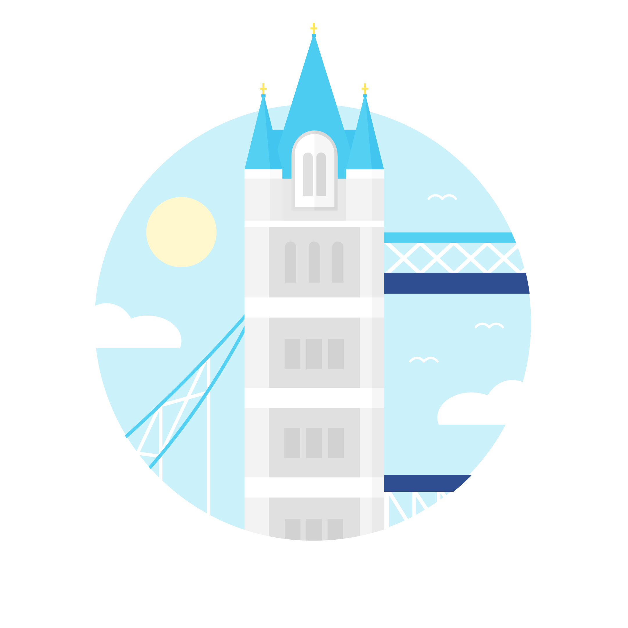 Vector illustration of the Tower Bridge in London, the UK in a blue circle with clouds & sun in flat design style