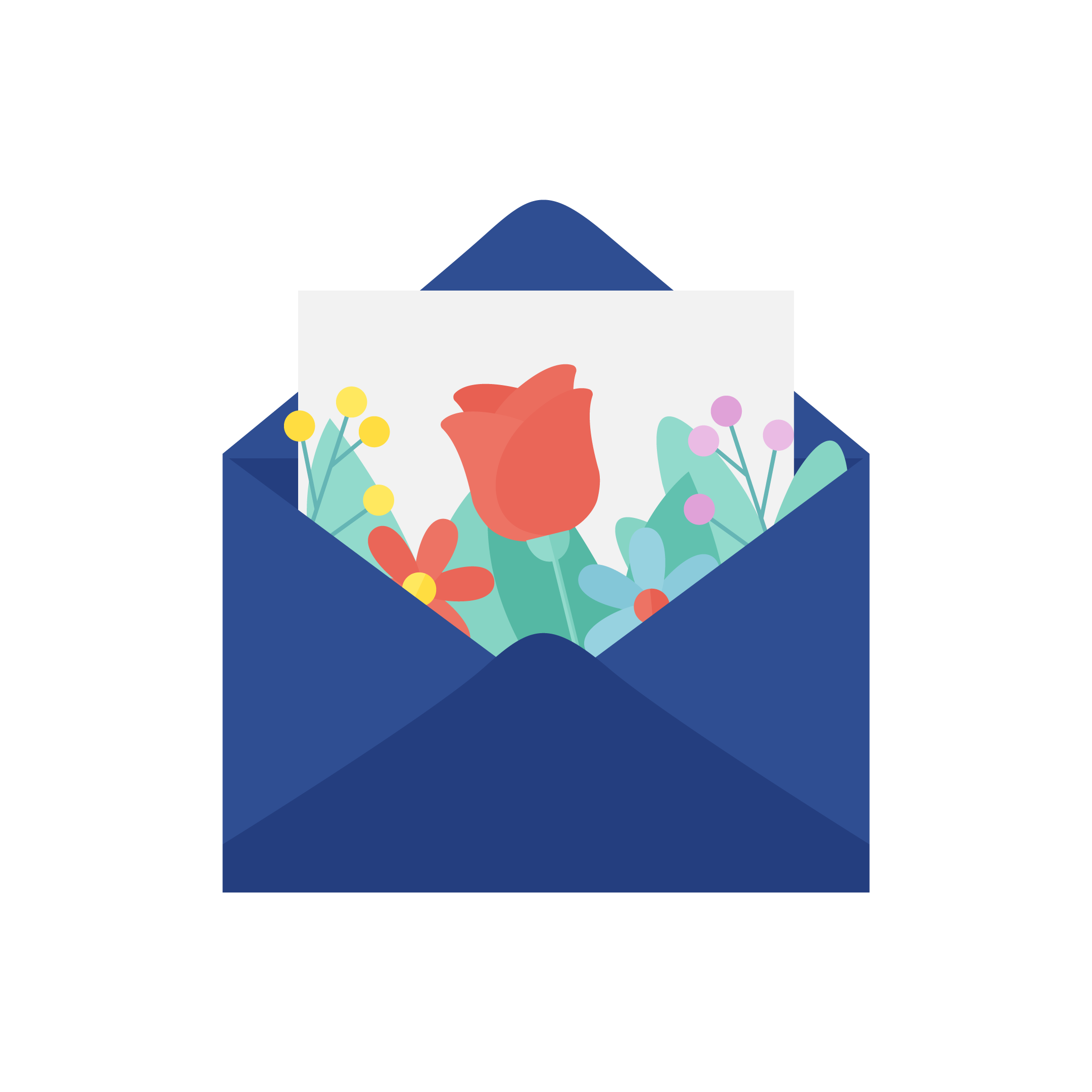 Vector illustration of an envelope with a love letter & flowers in flat design style