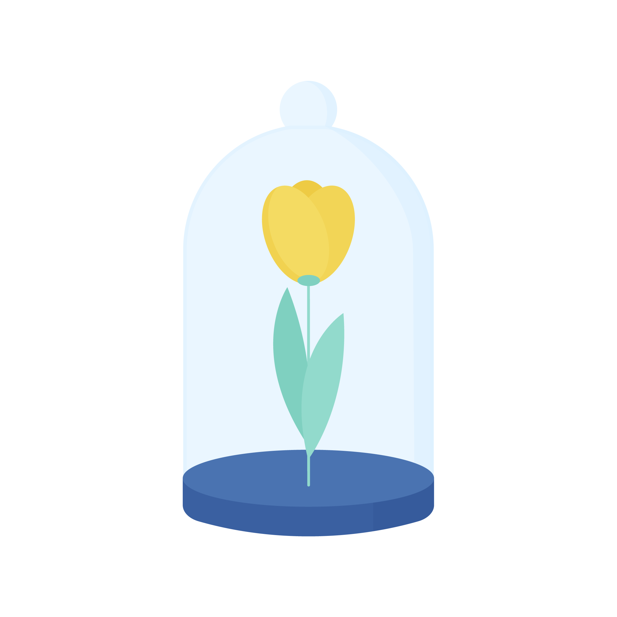 Vector illustration of a tulip in a glass dome in flat design style