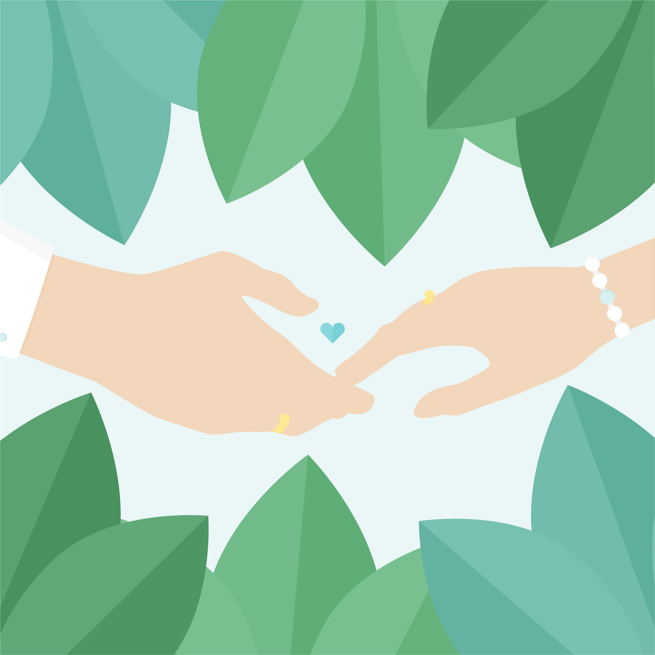Vector illustration of a married couple's hands touching with leaves around it in flat design style