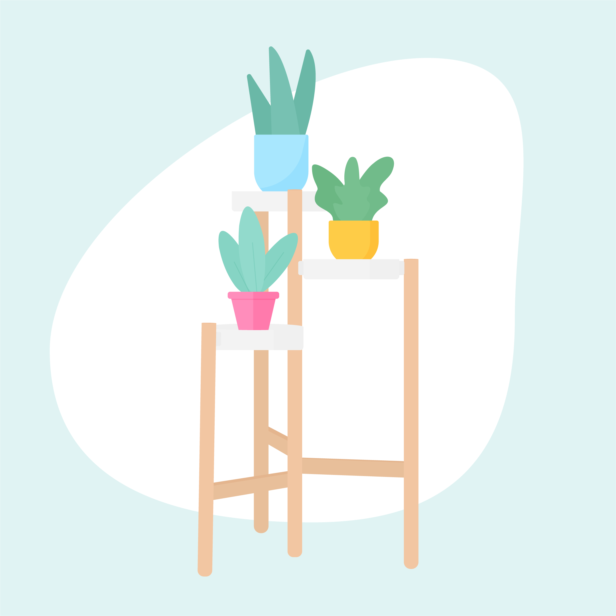 Vector illustration of a wooden Ikea plant stand with shelves & three potted flowers in flat design style