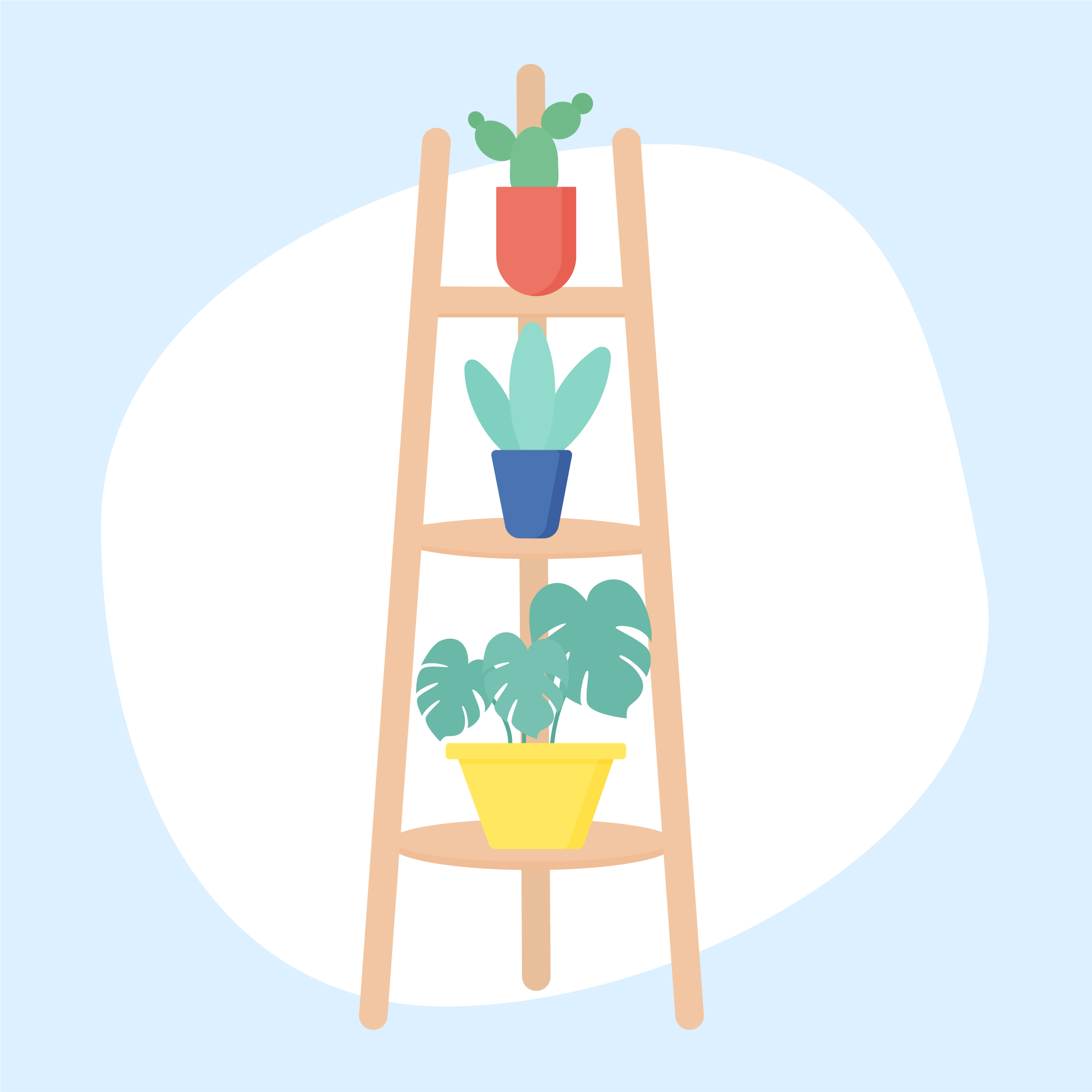 Vector illustration of a wooden ladder plant stand with three potted flowers in flat design style