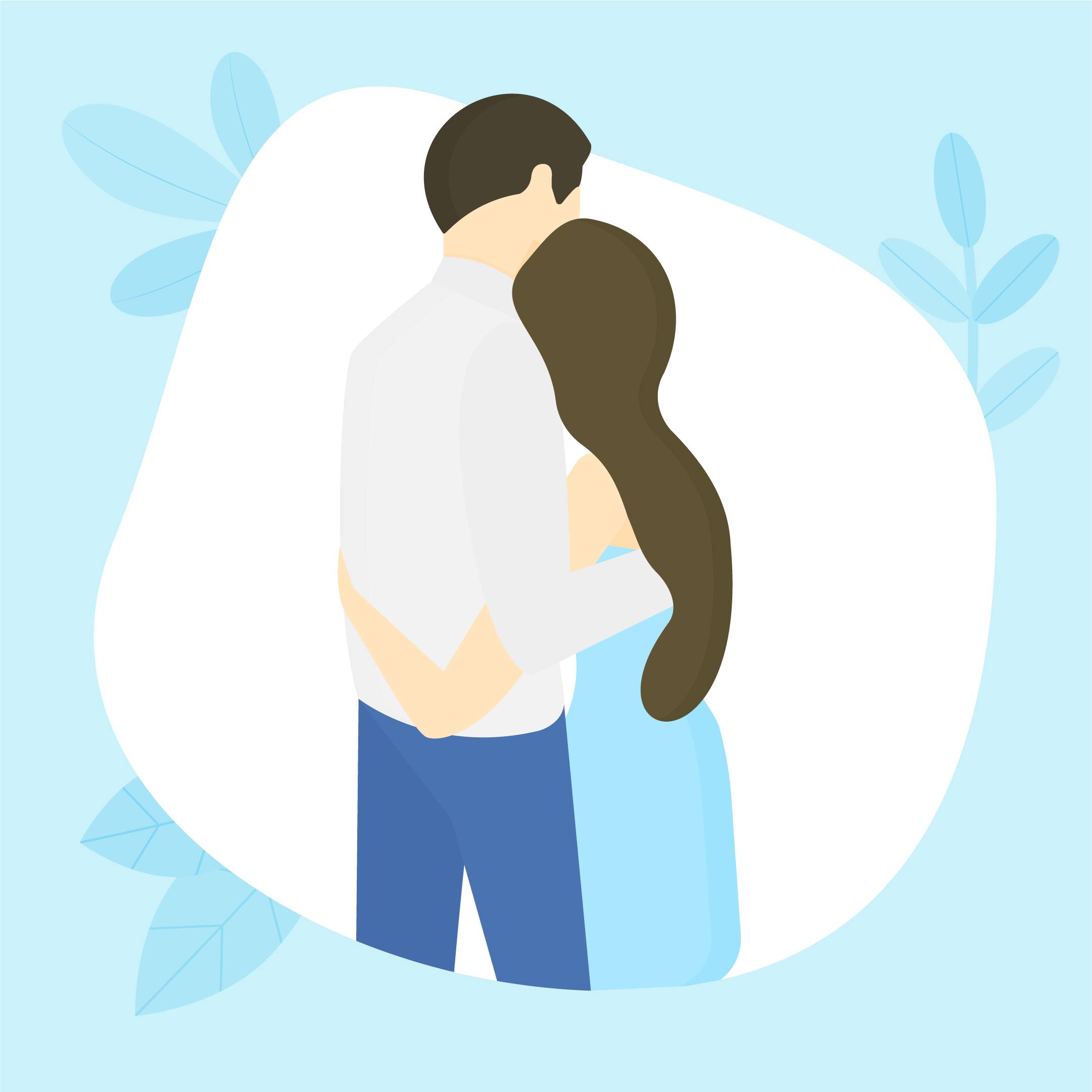 Vector illustration of a married couple hugging on their wedding day with leaves in the background in flat design style