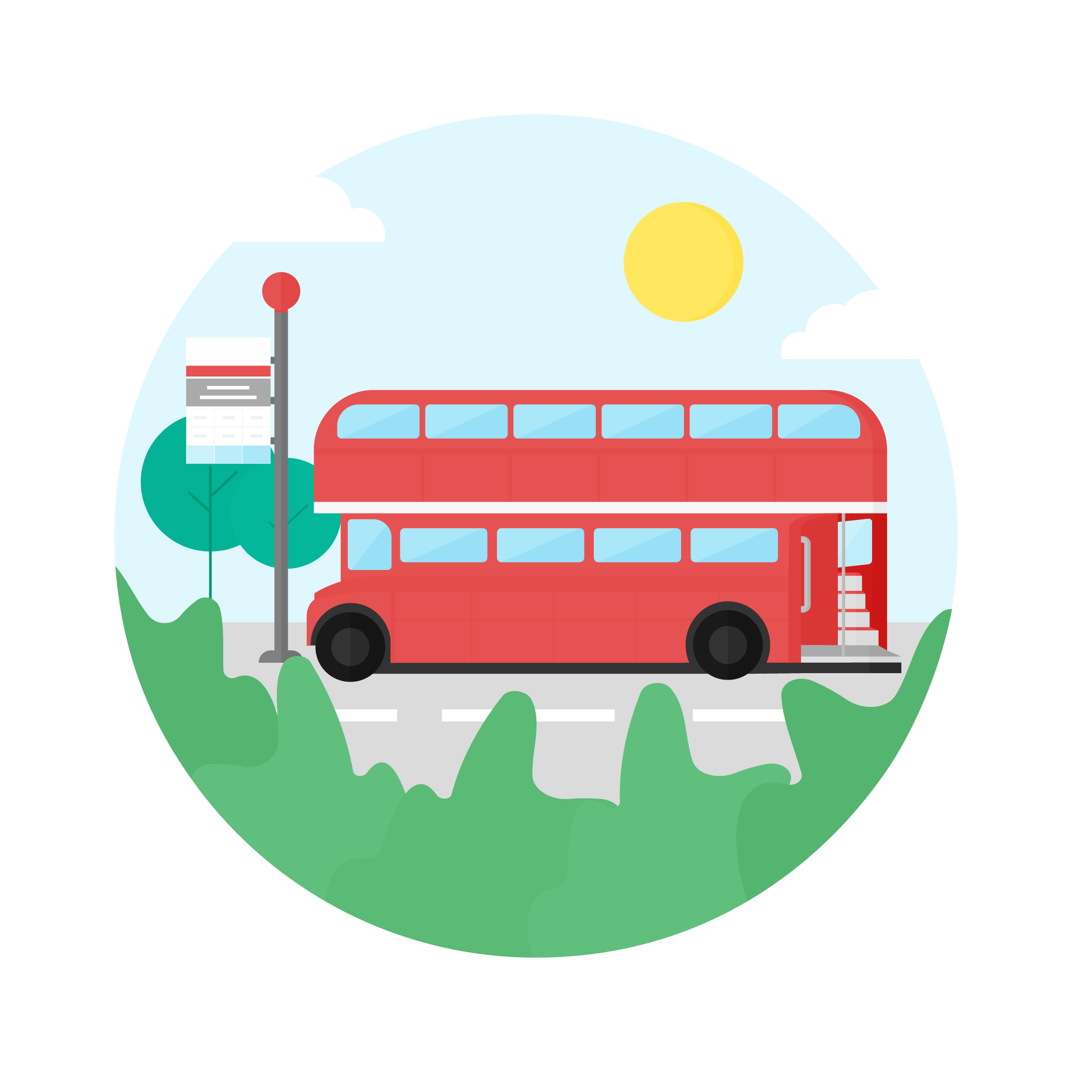 Vector illustration of sunny day bus stop scene with the old double-decker bus in London in a flat design style