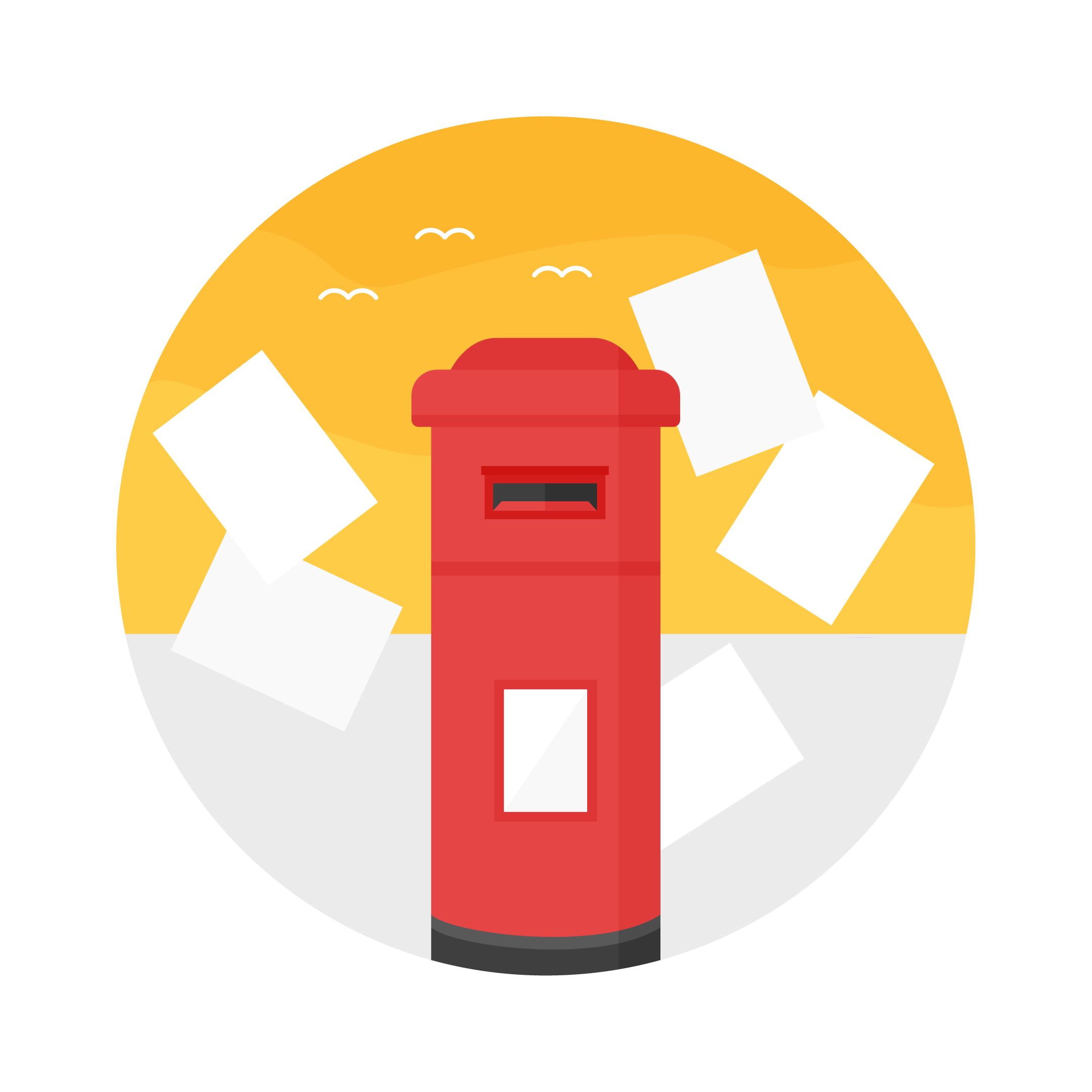 Vector illustration of a sunset scene with a post box & flying away letters in London in flat design style