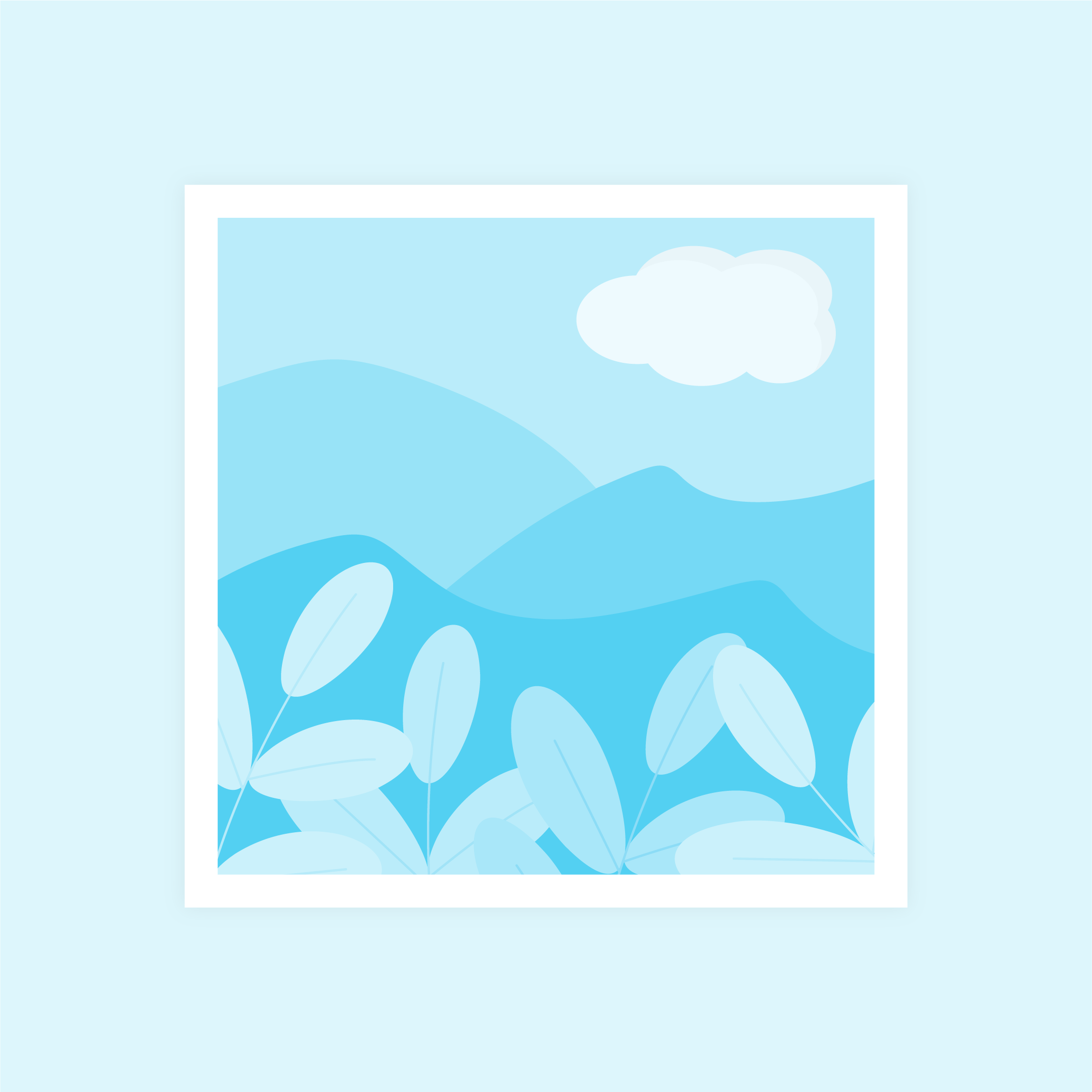 Vector illustration of a blue monochromatic abstract landscape with a cloud in flat design style