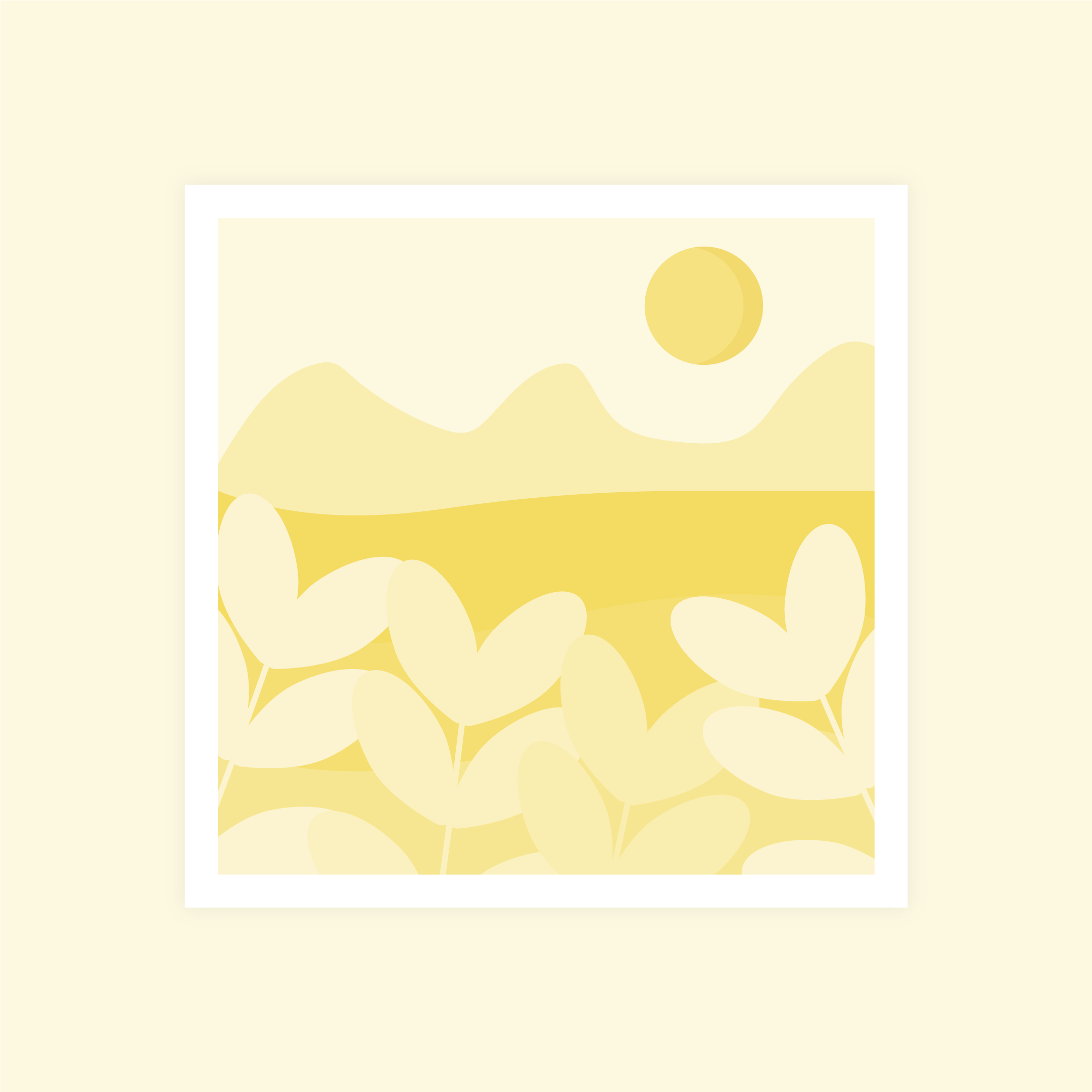 Vector illustration of a yellow monochromatic abstract landscape with a sun in flat design style