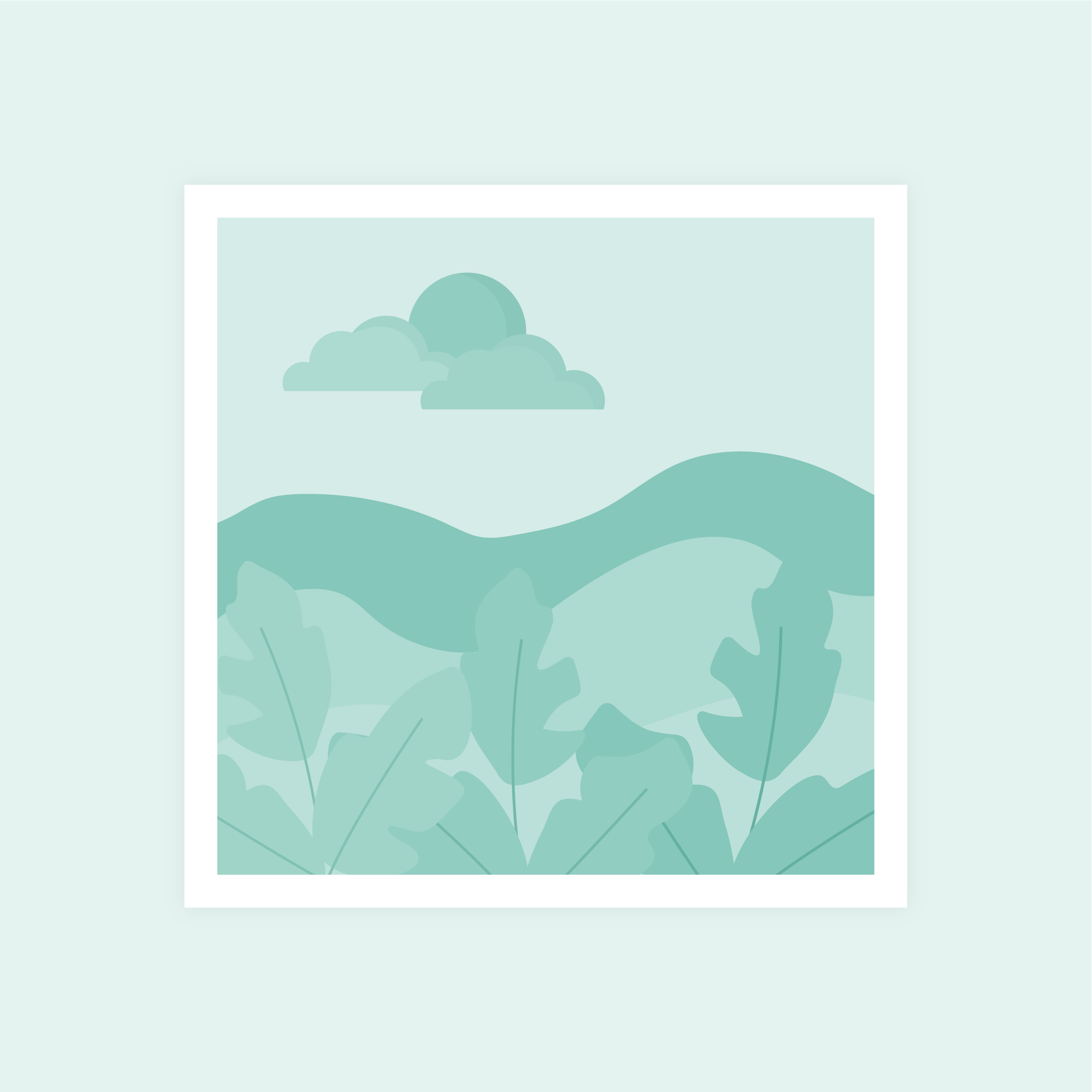 Vector illustration of a green monochromatic abstract landscape with sun & clouds in flat design style