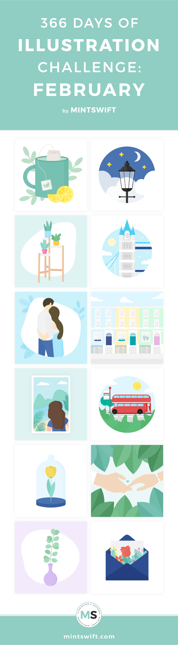 Top 12 vector illustrations inspired by nature, London, tea & love from the second month of my one year of illustration challenge in flat design style
