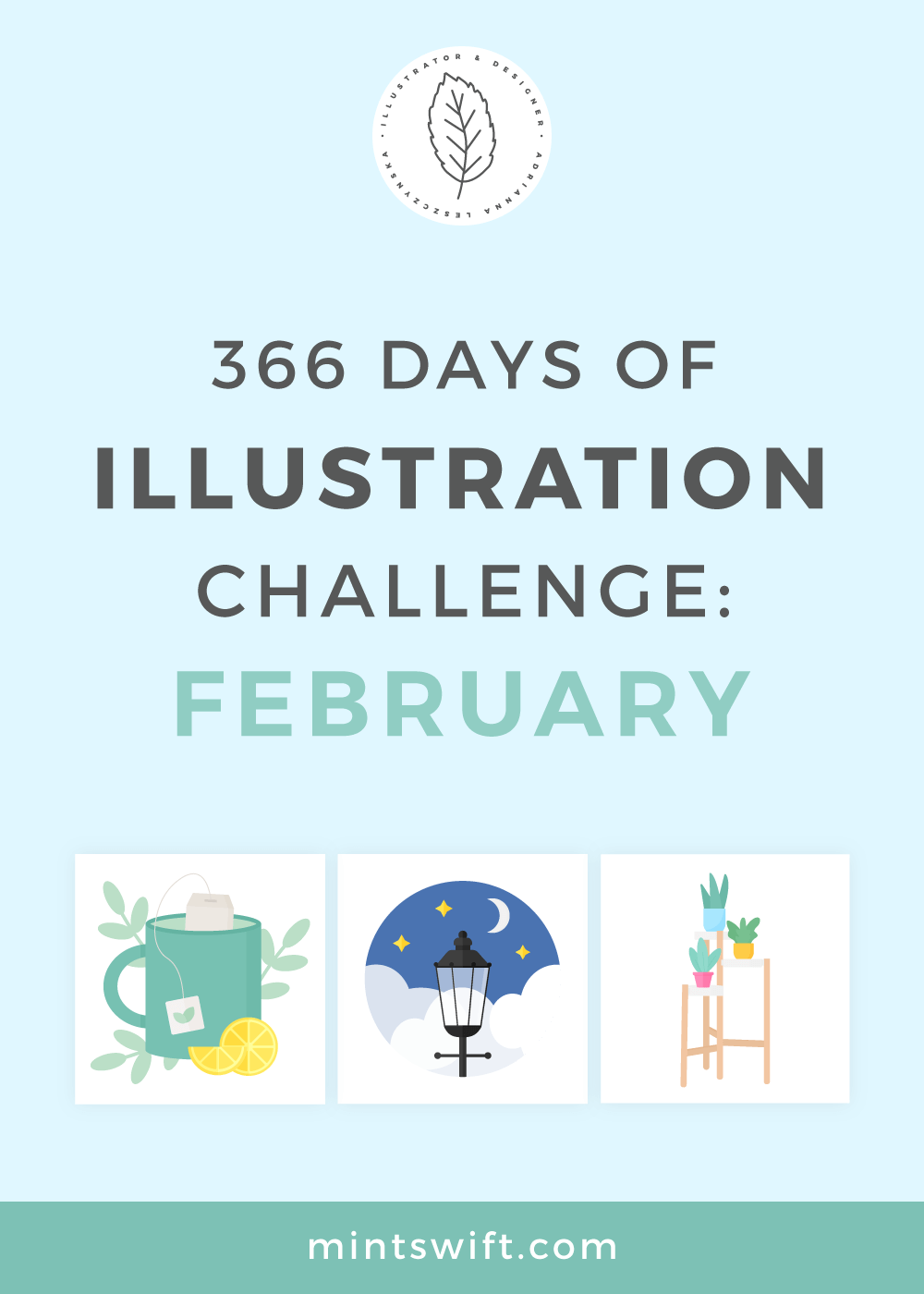 The second month (February) of 366 Days of Illustration Challenge by MintSwift. 29 vector illustrations in flat design style about nature, London & love