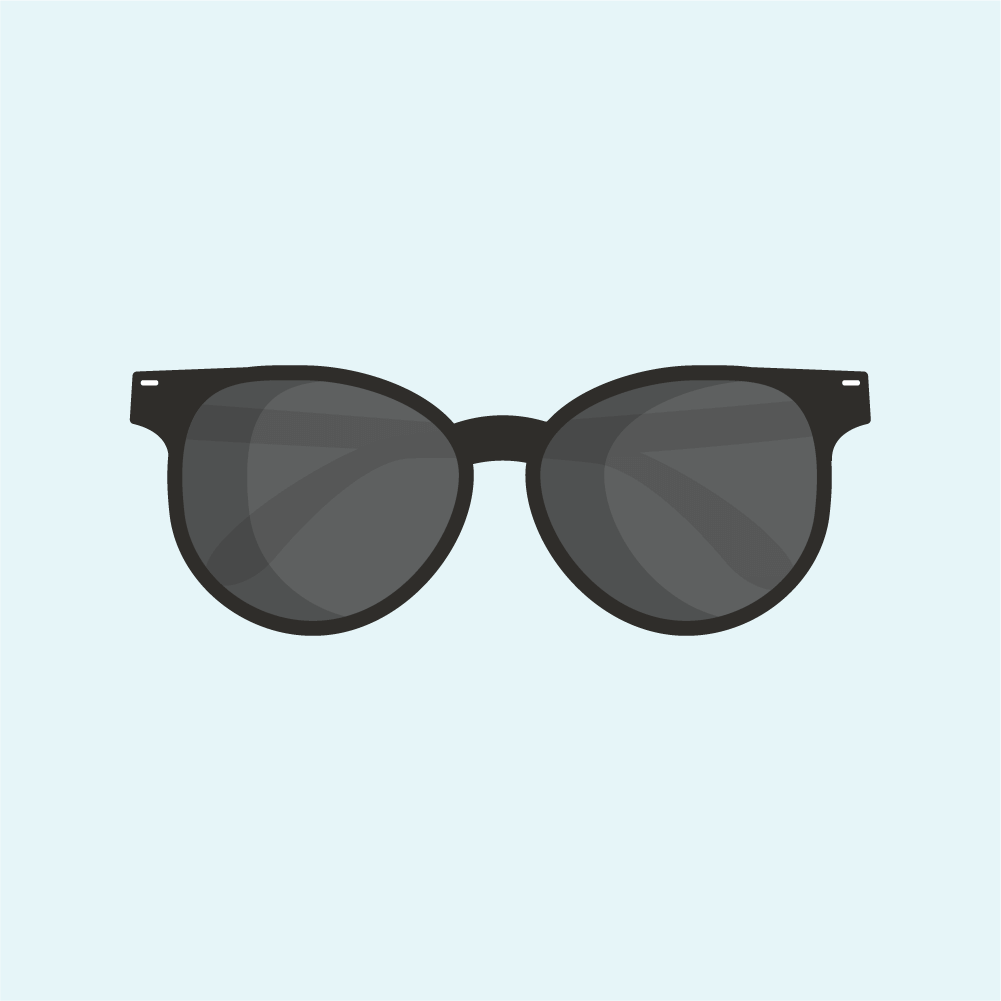 Flat illustration of black sunglasses