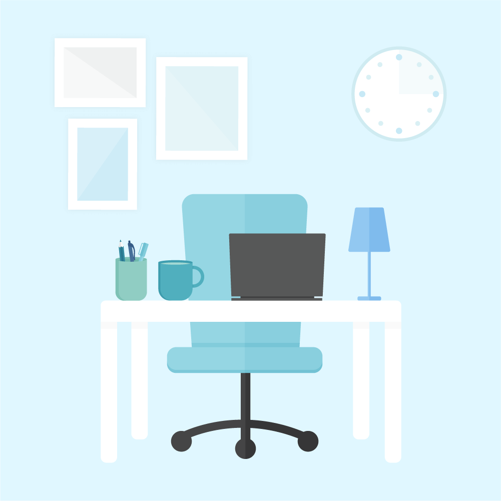 Flat illustration scene of designer's workspace scene including white desk, blue office chair, teal tea mug, mint pencil pot, blue desk lamp and wall art gallery and clock in the background