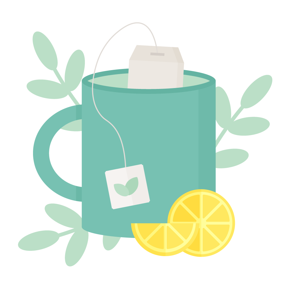 Flat illustration of a green mug with tea bag inside it, lemon slices in front of it & leaves in the background