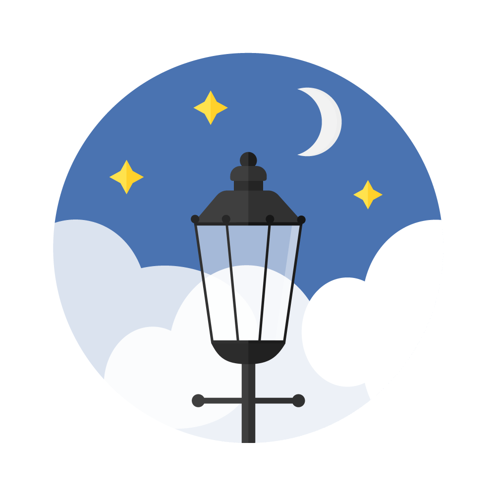 Flat illustration of a night scene with moon & stars with London's street lamp