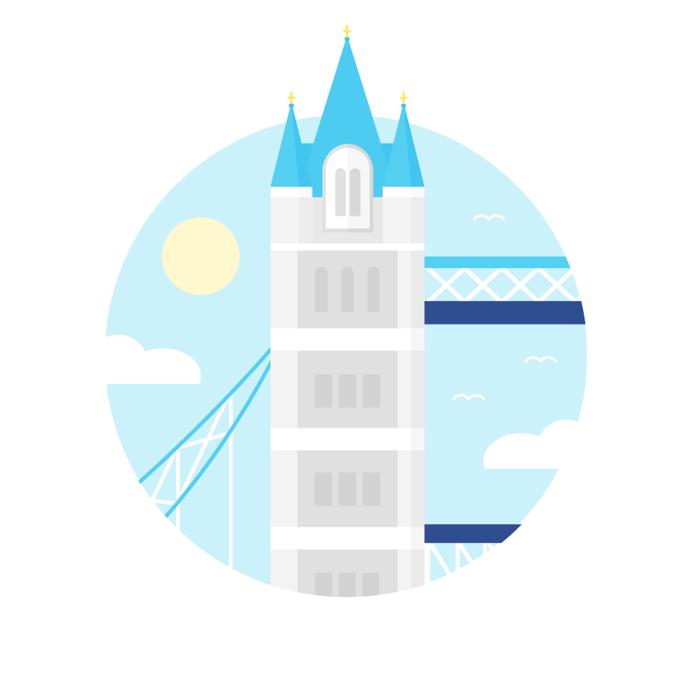 Flat illustration of Tower Bridge in London in a blue circle with clouds & sun