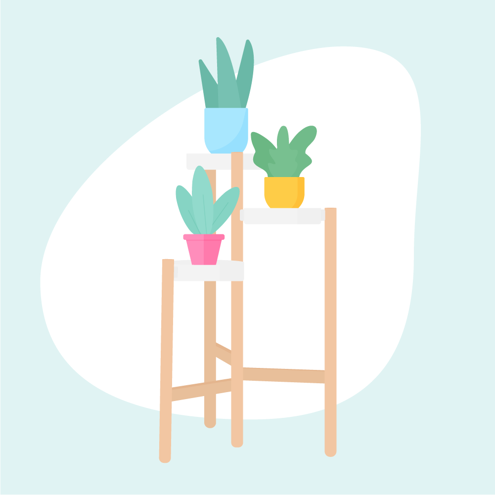 Flat illustration of a wooden Ikea plant stand with shelves & three potted flowers