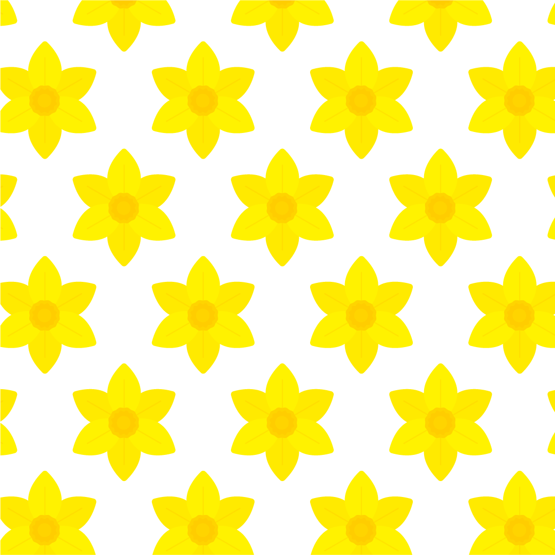Vector repeated pattern design with daffodil illustration in flat design style for St David's Day