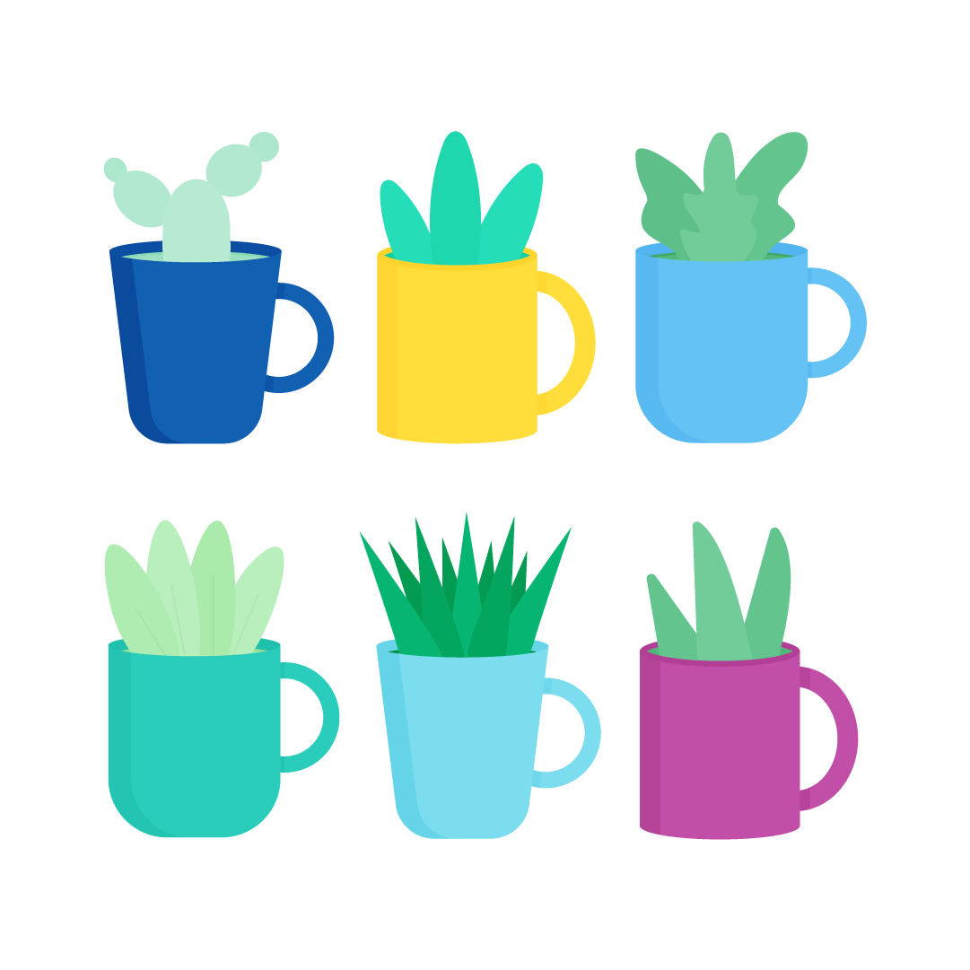 Vector illustration of a Collection of various plants in tea mugs in flat design style