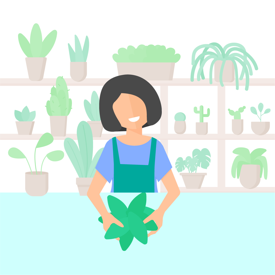 Vector illustration of Woman arranging the flowers in plants shop in flat design style