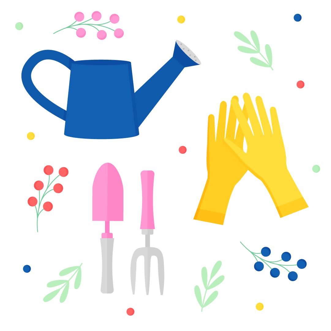 Vector illustration of a Gardening set - watering can, gardening gloves, gardening trowel & fork in flat design style