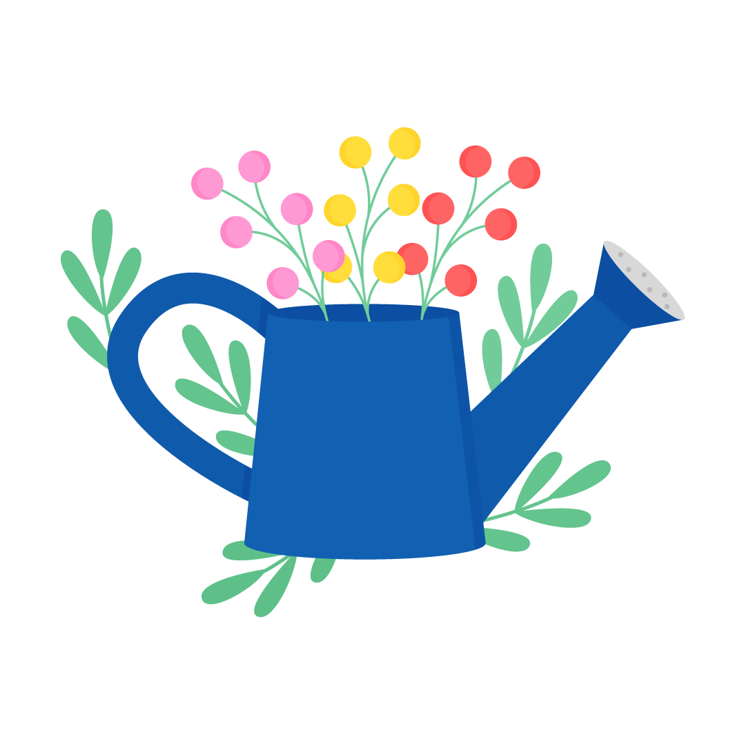 Vector illustration of a Watering can with flowers in flat design style