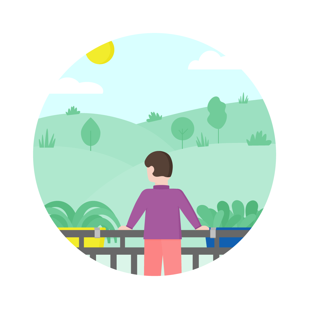Vector illustration of a man standing on a balcony, looking at fields in flat design style