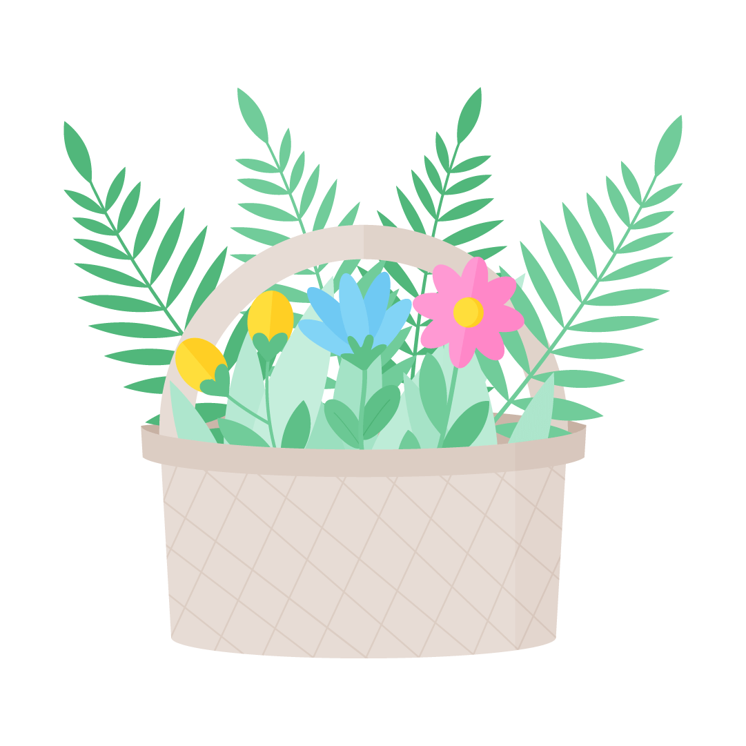 Vector illustration of a Flowering basket with planted flowers for Mother's Day in flat design style