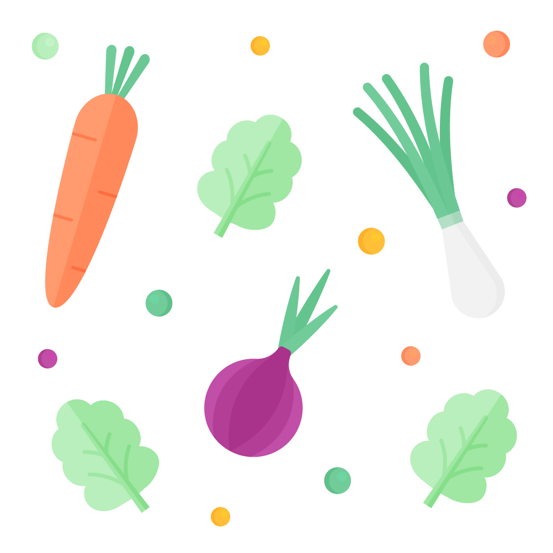 Vector illustration of a veggies pattern/set - carrot, red onion, spring onion, lettuce & peas in flat design style