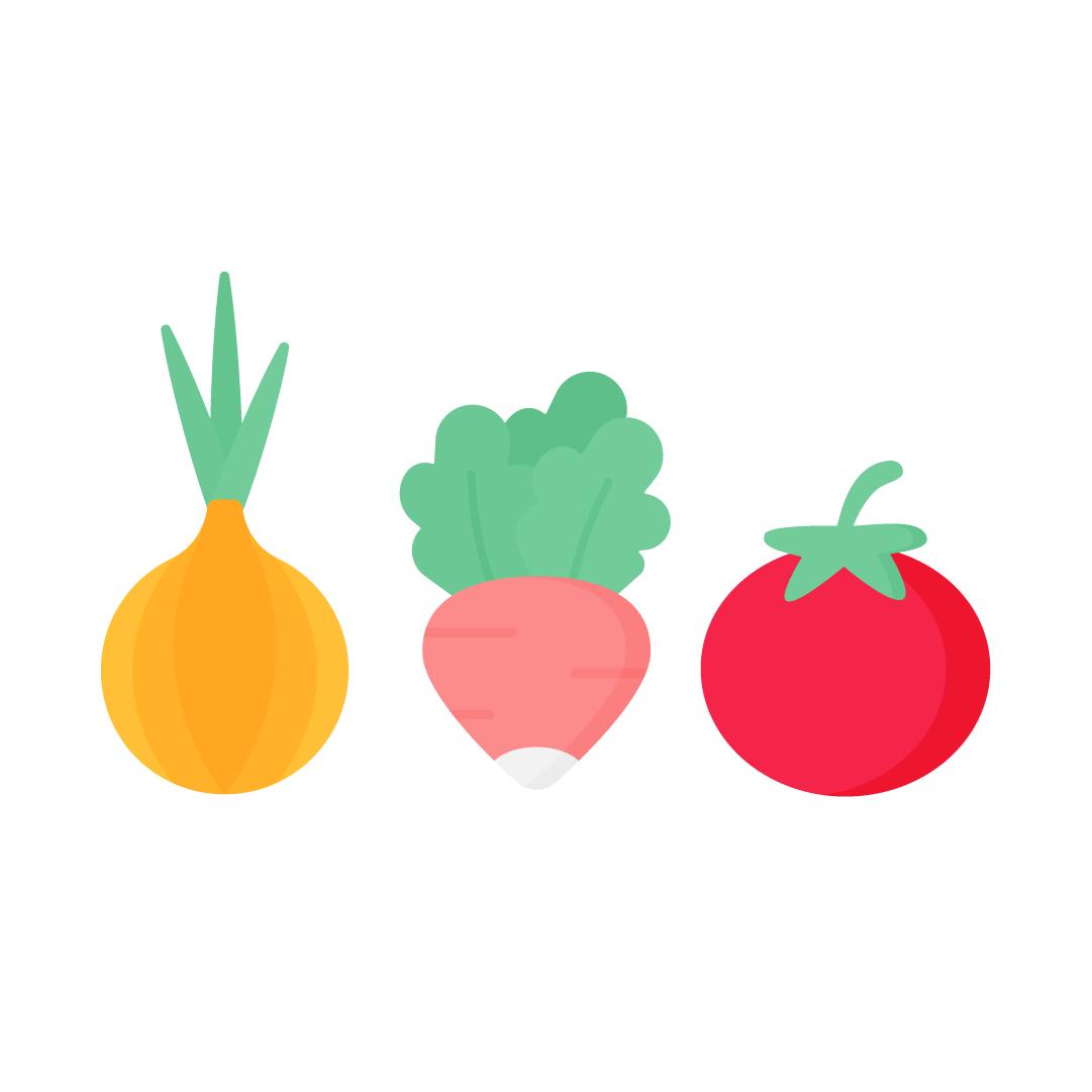 Vector illustration of a Yellow onion, radish & tomato in flat design style
