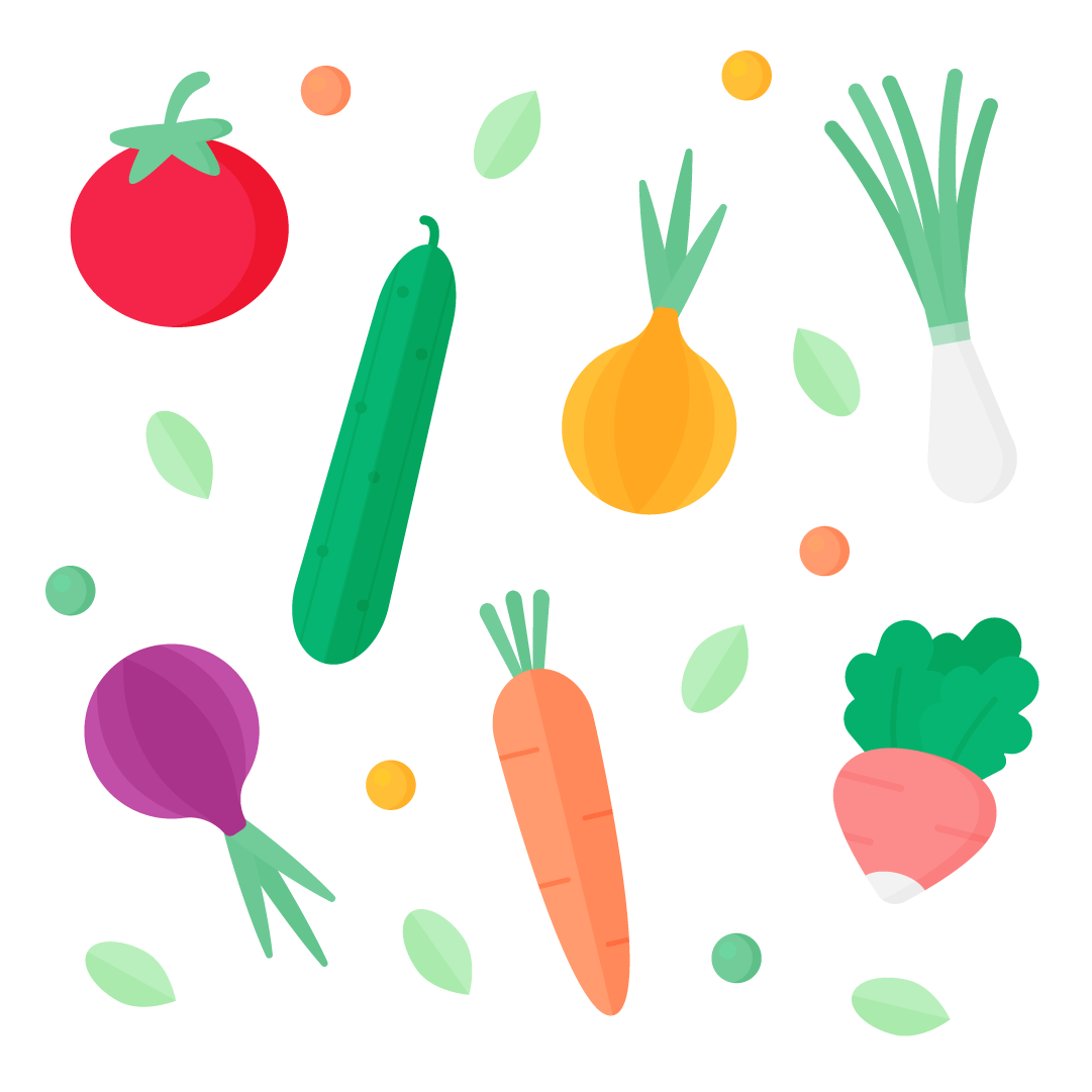 Vector illustration of spring vegetables: tomato, cucumber, yellow onion, spring onion, red onion, carrot & radish in flat design style