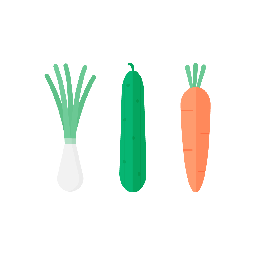 Vector illustration of Spring onion, cucumber & carrot in flat design style