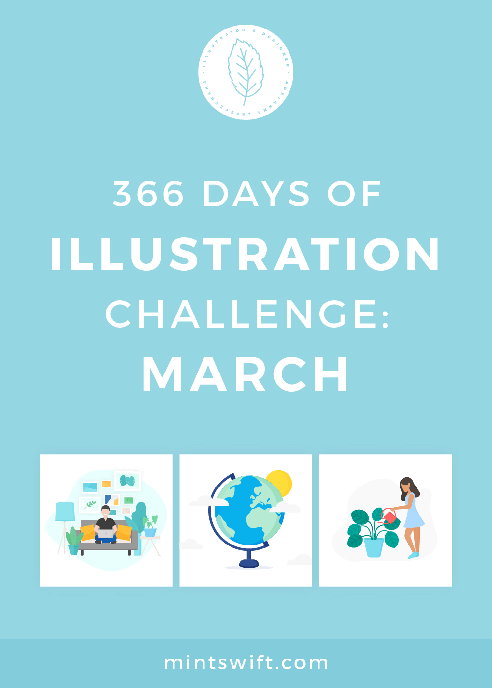 366 Days of Illustration Challenge - March by MintSwift. The third month (March) of illustration challenge, so day 61-91. Vector illustrations in flat design style about spring, plants, food