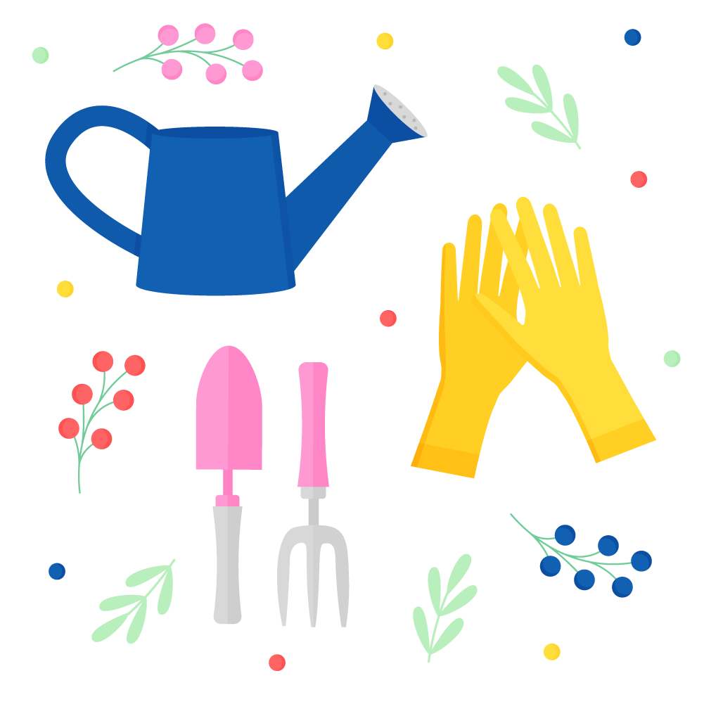Flat illustration of a gardening set - watering can, gardening gloves, gardening trowel & fork with flowers & foliage
