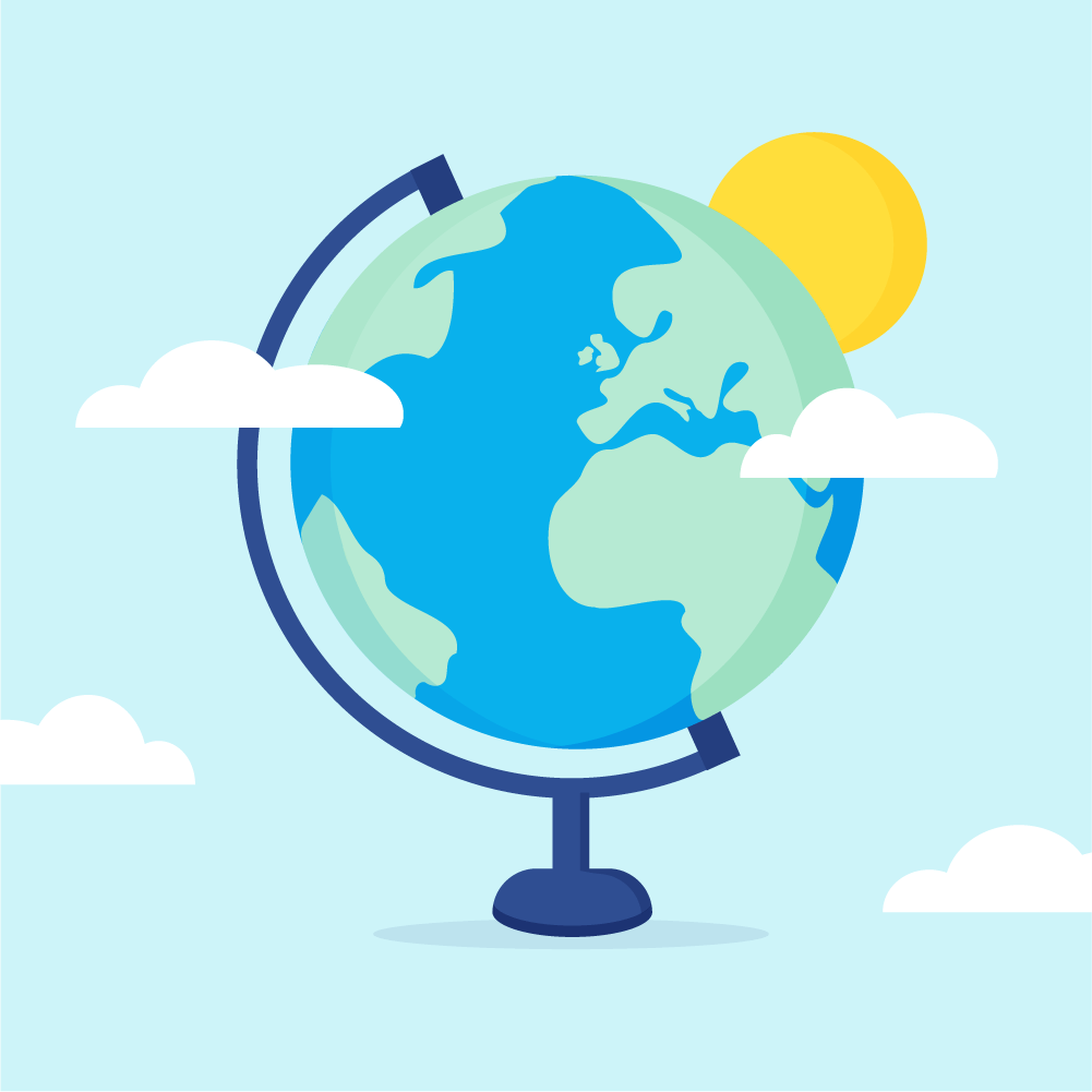 Flat illustration of a Globe, Earth with Europe view on a stand with clouds & sun