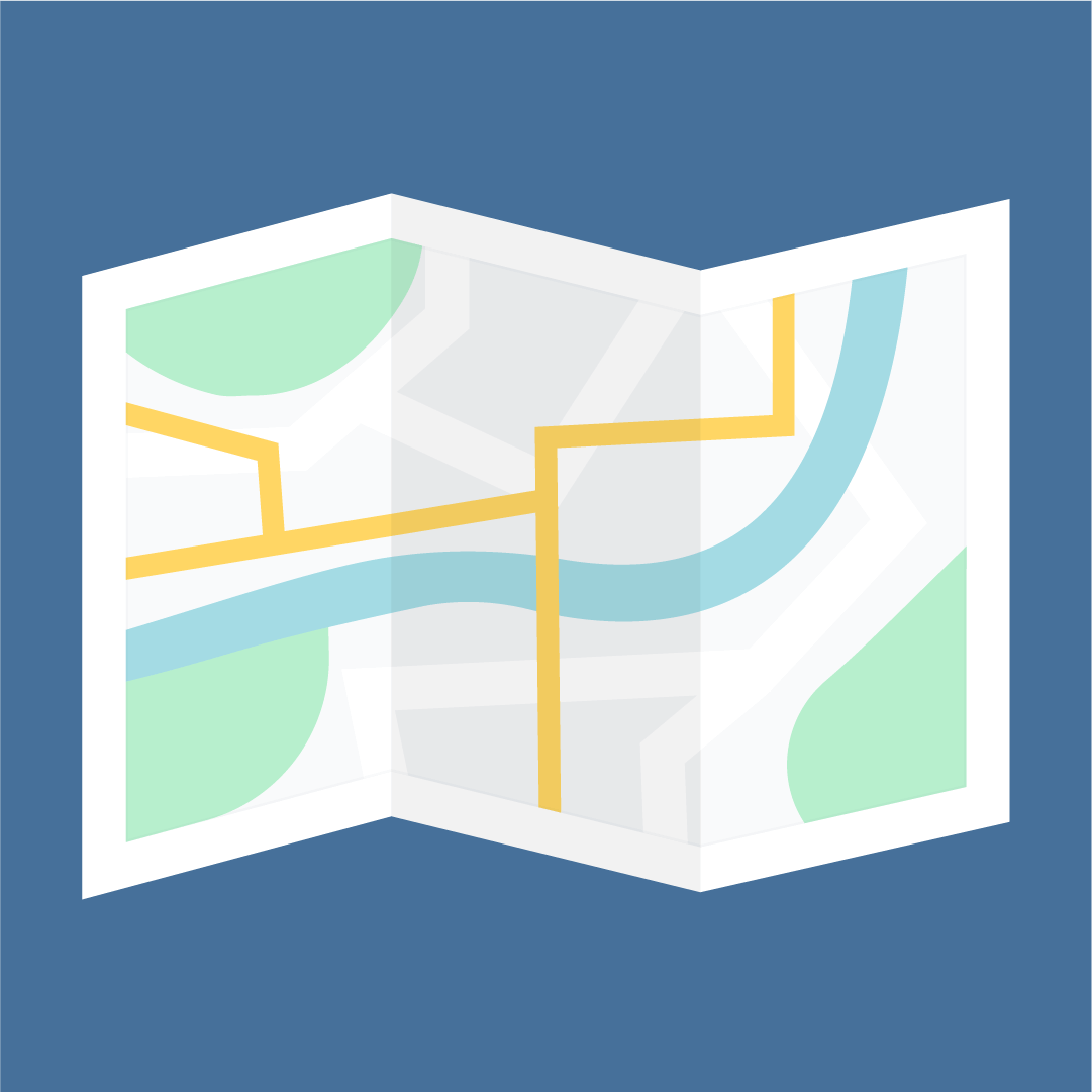 Vector illustration of a folded map in flat design style