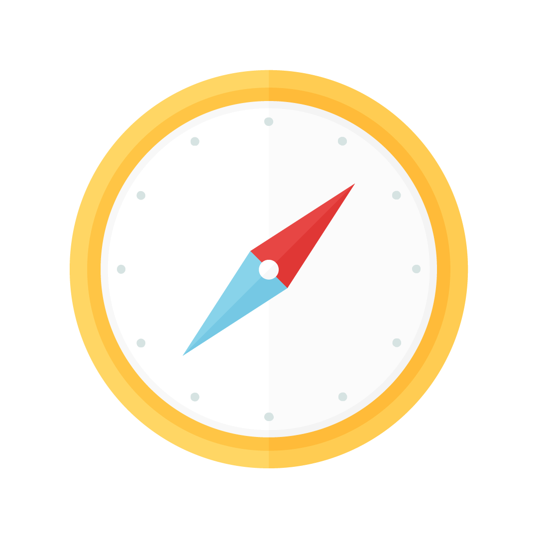 Vector illustration of a yellow compass in flat design style