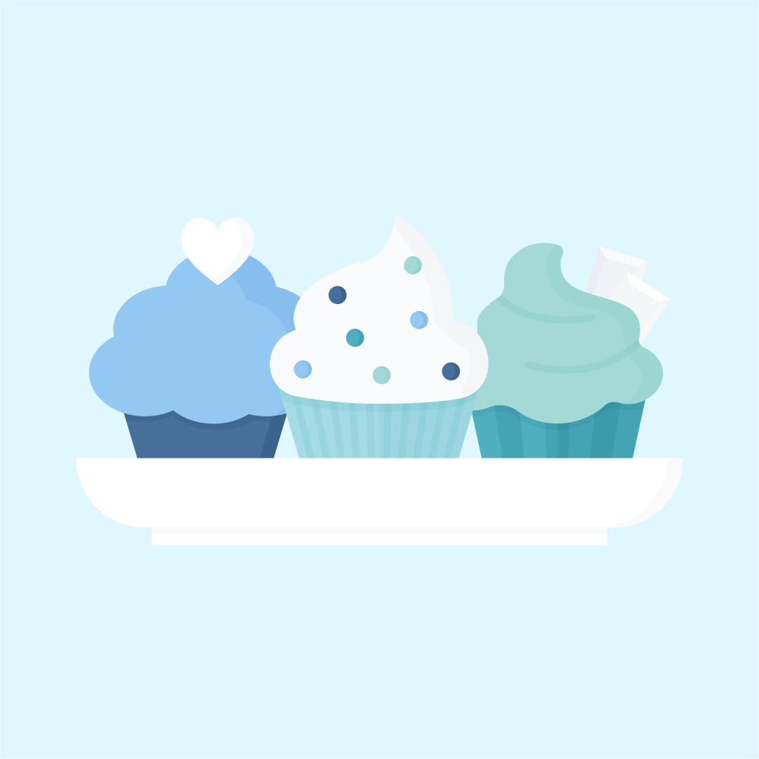 Vector illustration of three cupcakes on a plate: one with white chocolate heart, second with chocolate chips and the last with white chocolate pieces in flat design style