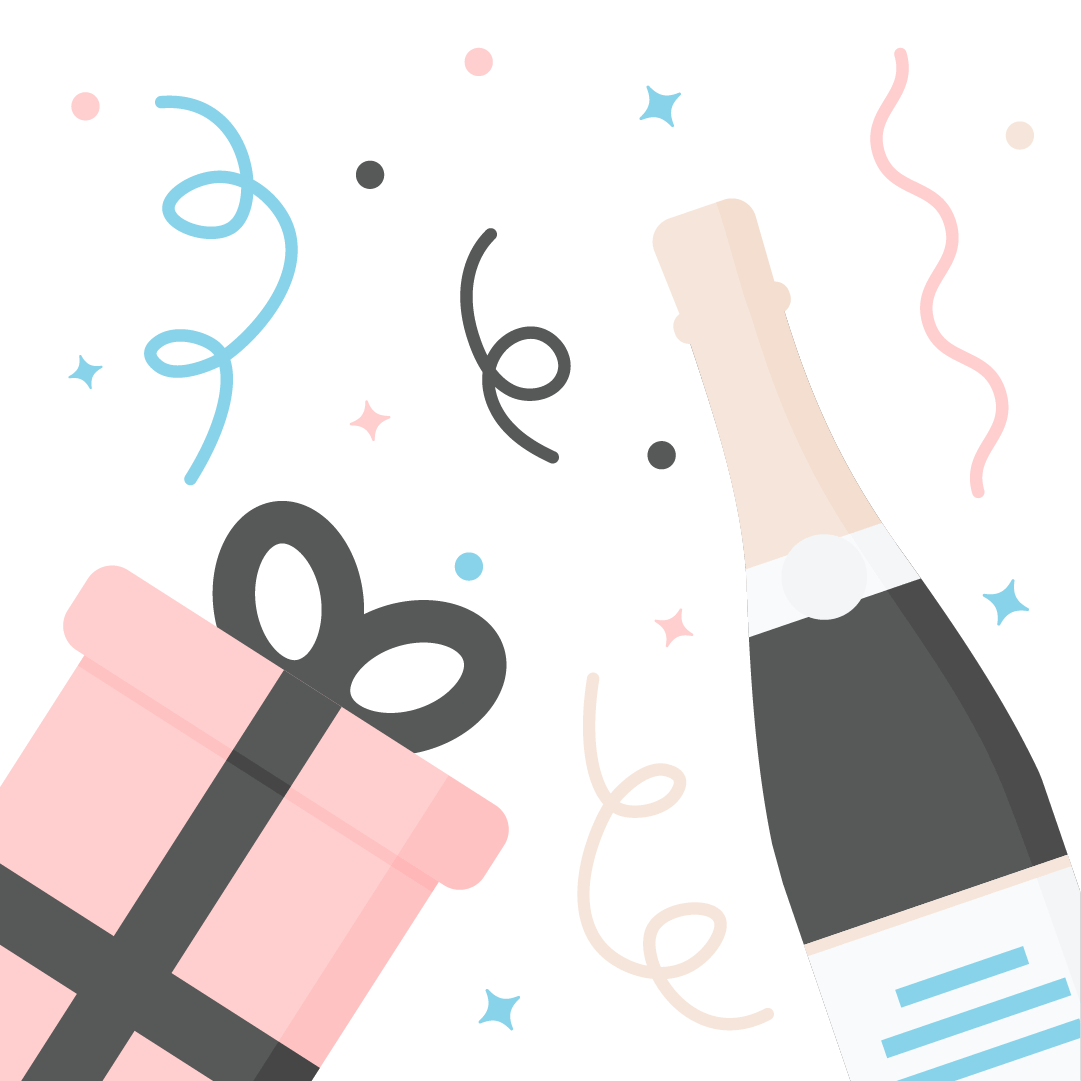 Vector illustration of flat lay composition including a gift with ribbon, champagne, confetti & streamers in flat design style
