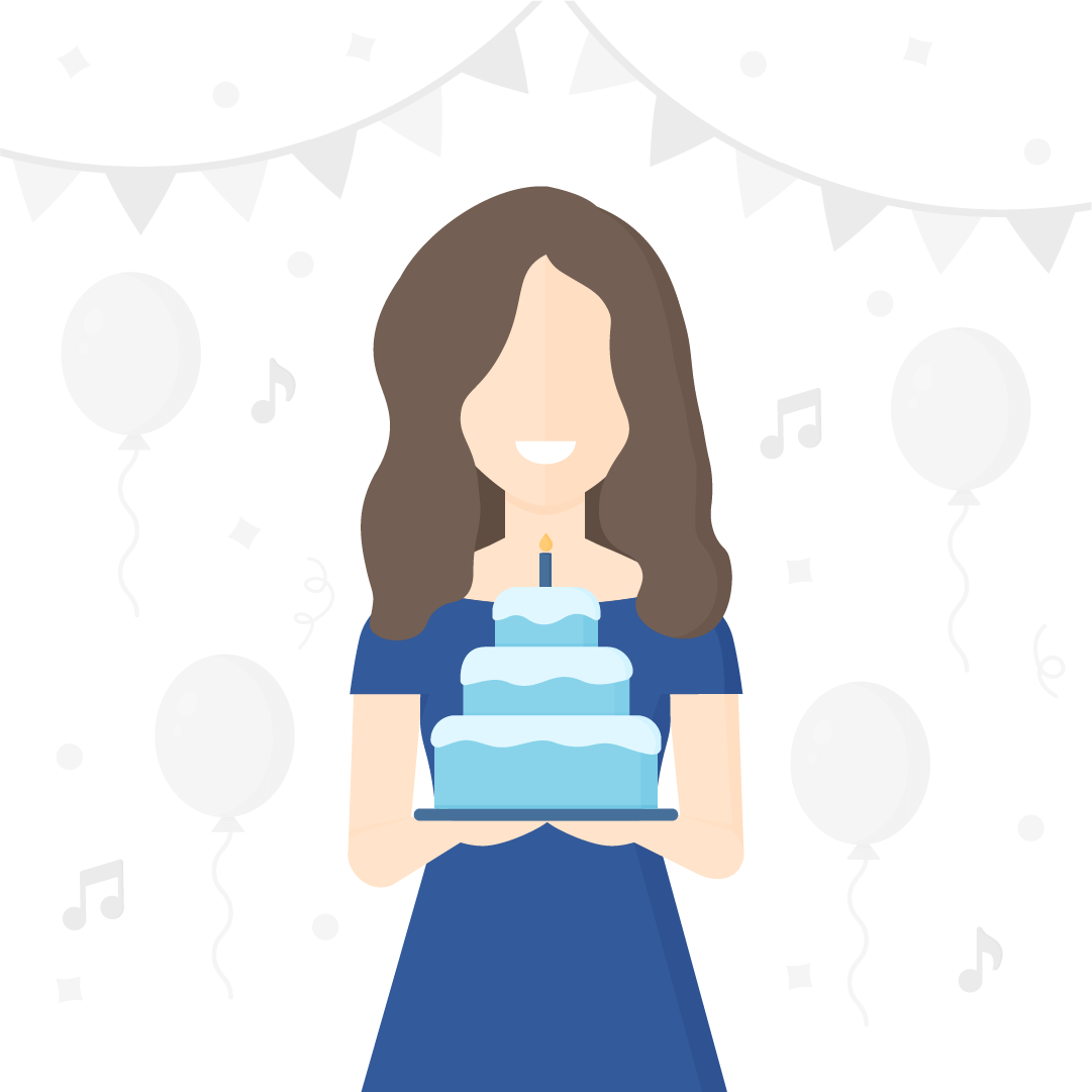 Vector illustration of a woman with long brown hair in an off-shoulder navy blue dress, holding a blue birthday cake with icing; with greyed out birthday party elements in the background in flat design style