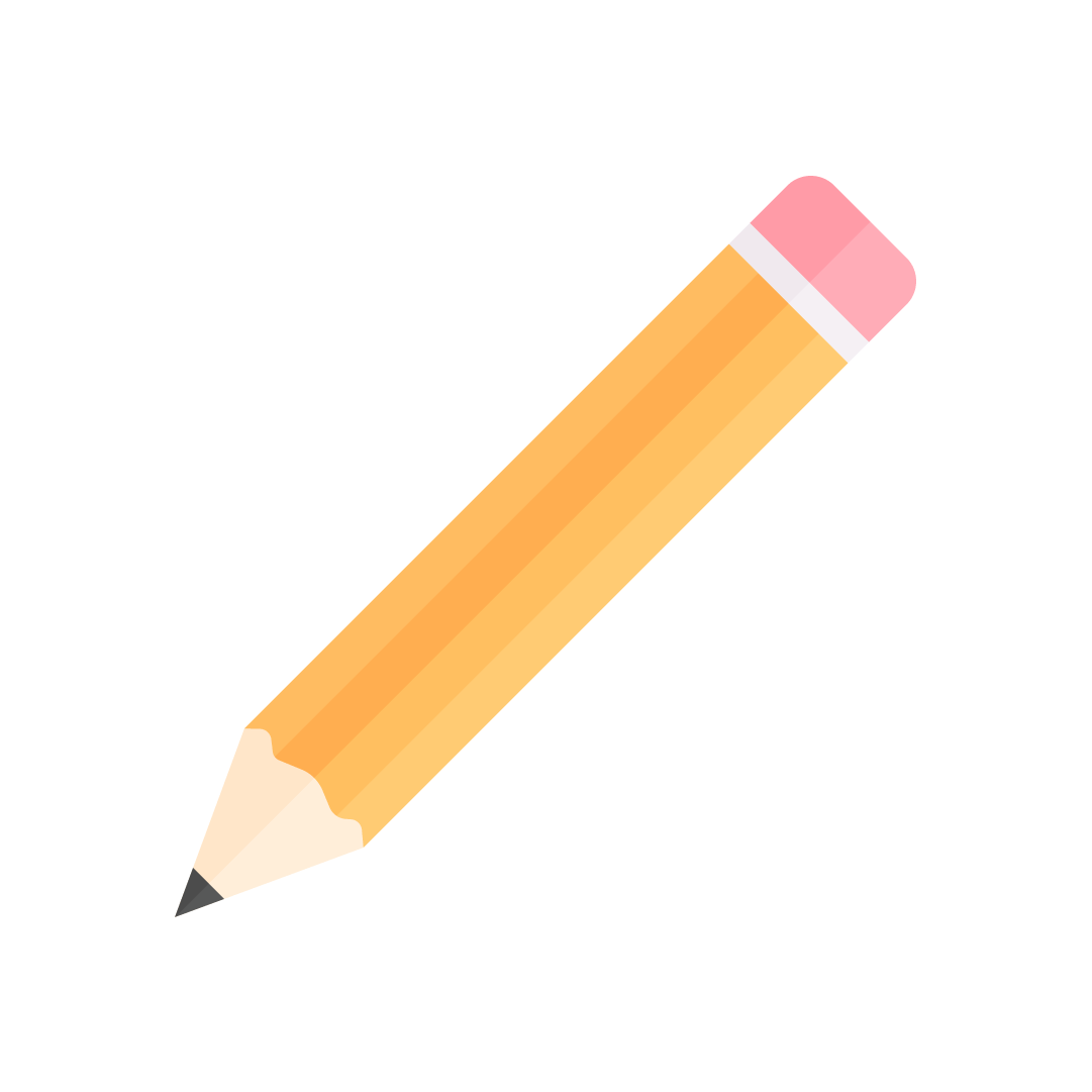 Vector illustration of a yellow pencil with a pink eraser in flat design style