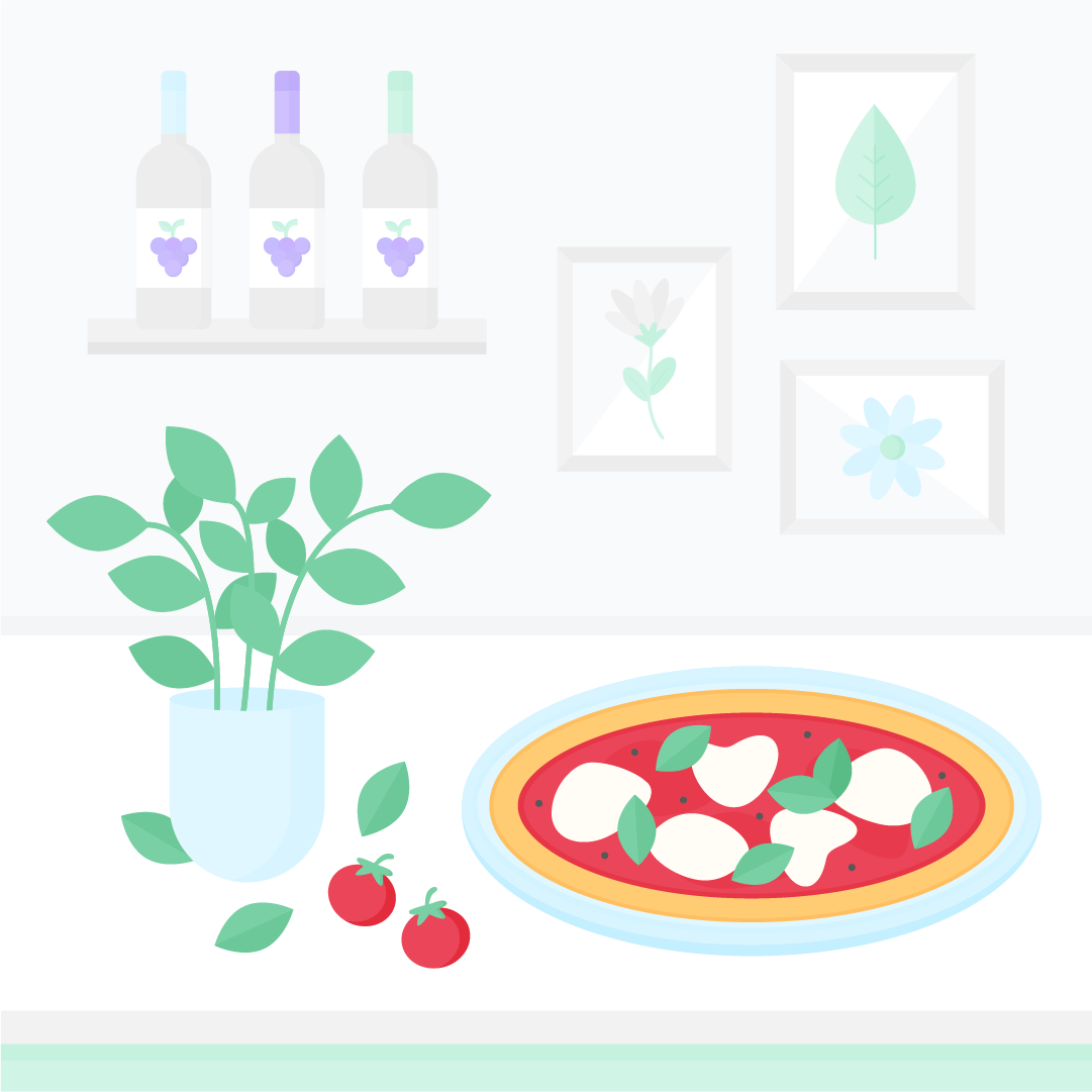 Vector illustration of a kitchen scene with pizza, basil plant; wall gallery and wine in the background in flat design style