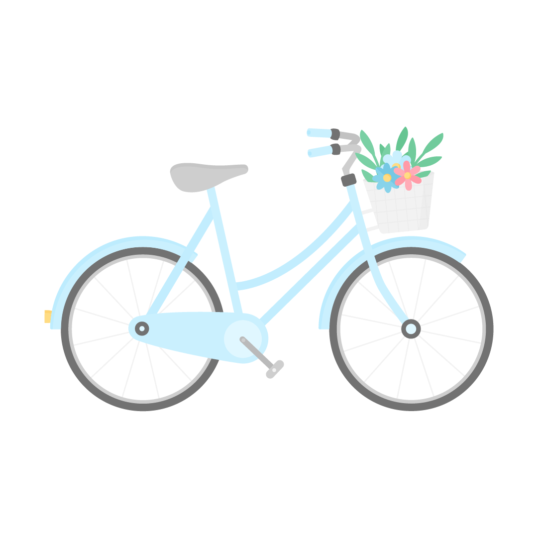 Vector illustration of a light blue bicycle with a flower basket in flat design style
