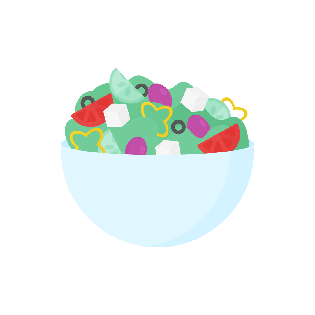 Vector illustration of a Greek salad with Kalamata olives, cucumber, yellow pepper, tomato, feta cheese, black olives & lettuce in flat design style