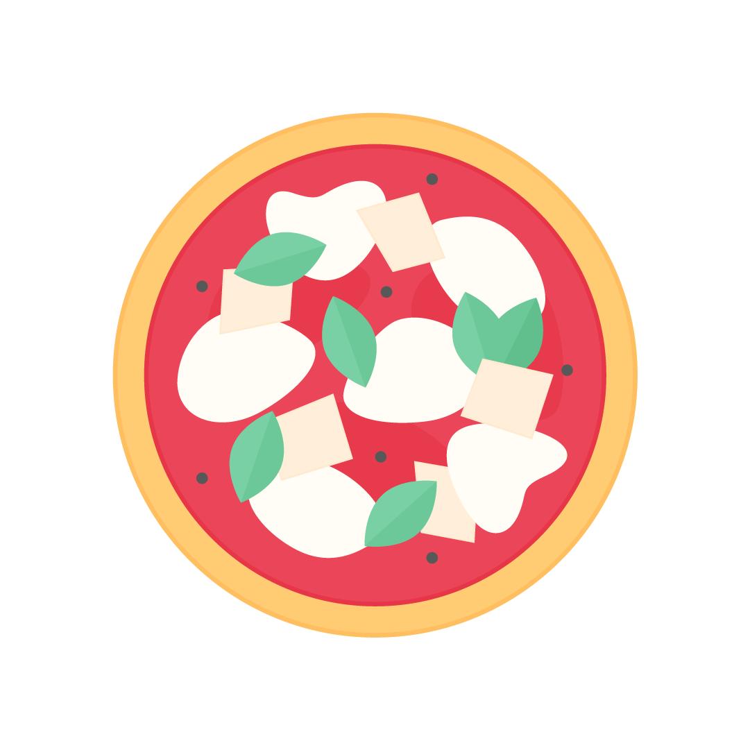 Vector illustration of a sourdough Neapolitan Margherita pizza in flat design style
