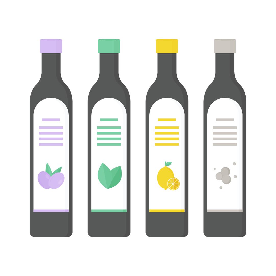 Vector illustration of various flavoured olive oils: Kalamata olives, basil, lemon & black pepper in flat design style