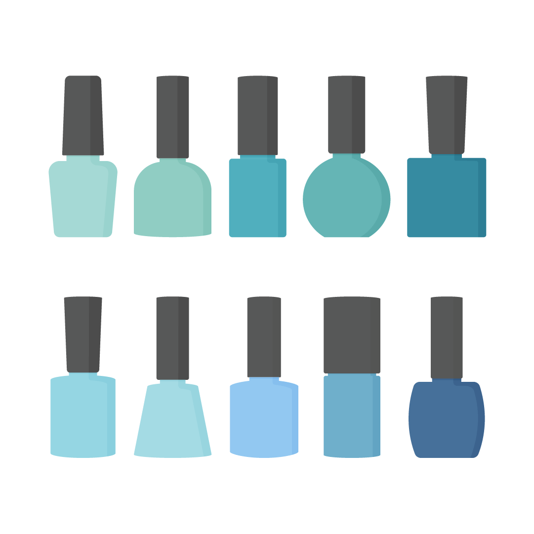Vector illustration of a blue & teal nail polish collection in different bottles in flat design style