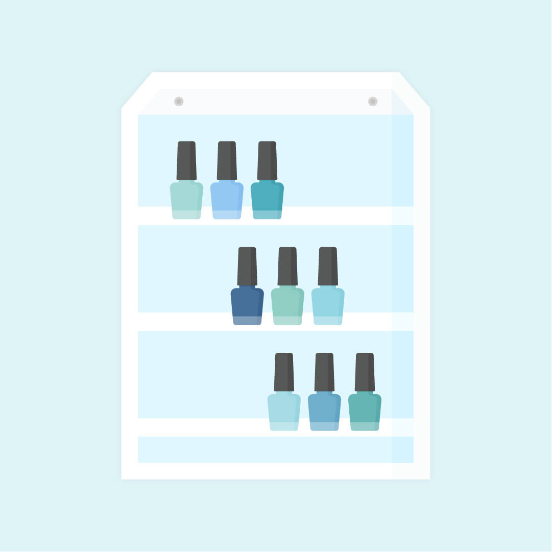 Vector illustration of a blue & teal tones nail polish on a wooden wall organizer in flat design style