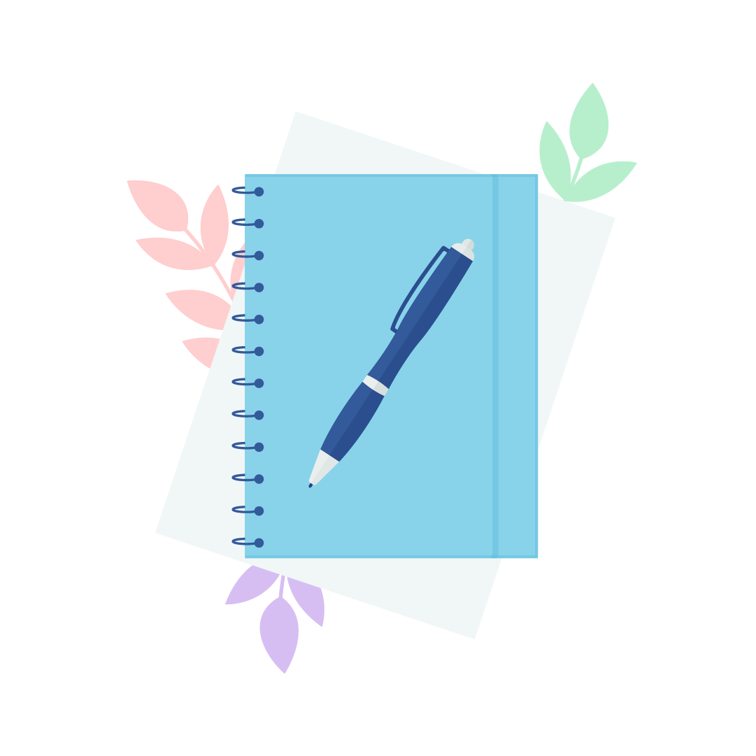 Vector illustration of a blue spiral notebook with navy blue ballpoint pen lying on it, a sheet of paper below it and colourful leaves in the background in flat design style